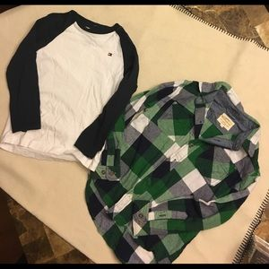 2 shirts. EUC.  Tommy Hilfiger and flannel shirt.